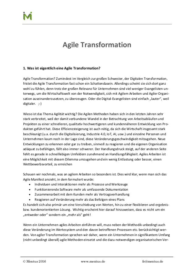© Mentus 2016 www.mentus.de fe@mentus.de Agile Transformation 1. Was ist eigentlich eine Agile Transformation? Agile Trans...