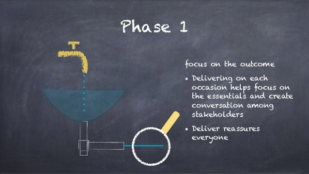 Phase 1 focus on the outcome • Delivering on each occasion helps focus on the essentials and create conversation among sta...