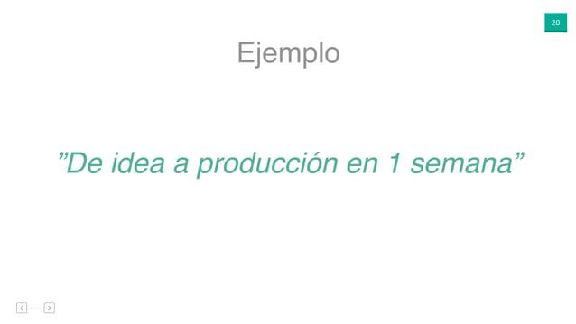 """20 """"De idea a producción en 1 semana"""" Ejemplo"""