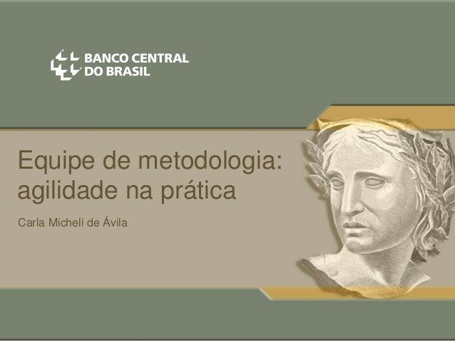 Equipe de metodologia: agilidade na prática Carla Micheli de Ávila