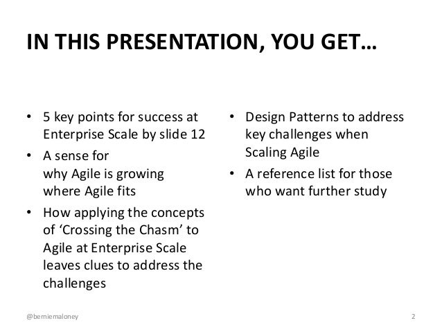 Agile at Enterprise Scale: The Tricky Bits Slide 2