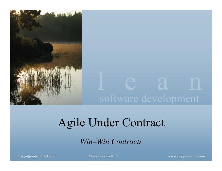 lsoftware development                                       e a n                       Agile Under Contract              ...