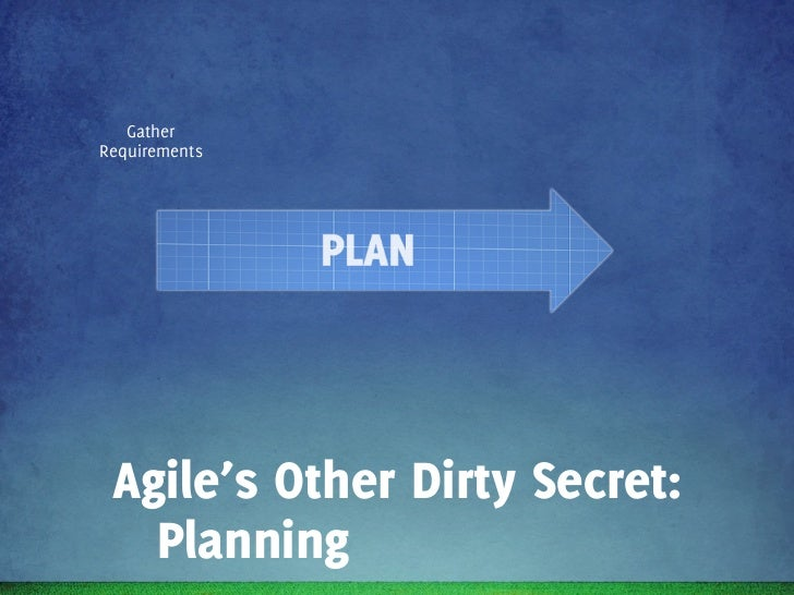 Gather        Analyse      Write   ScopeRequirements   Requirements   Epics     R1 Agile's Other Dirty Secret:   Planning