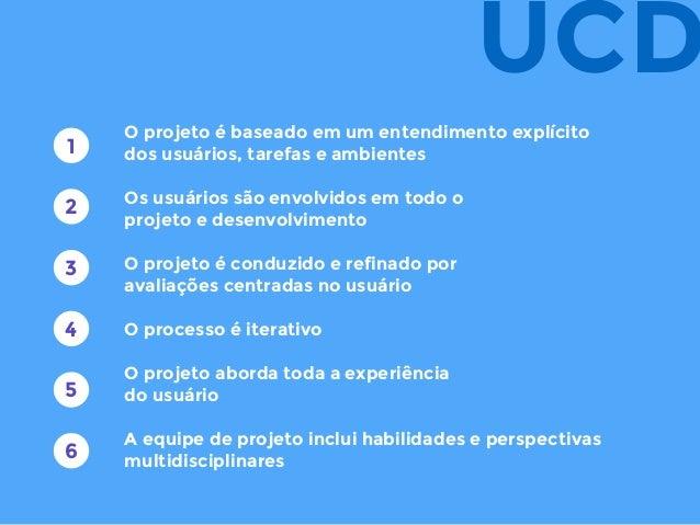 O projeto é baseado em um entendimento explícito dos usuários, tarefas e ambientes Os usuários são envolvidos em todo o pr...