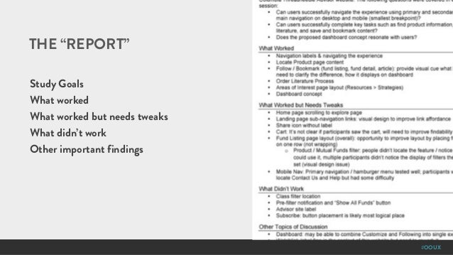 """#OOUX THE """"REPORT"""" Study Goals What worked What worked but needs tweaks What didn't work Other important findings"""