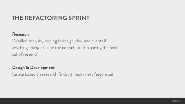 #OOUX THE REFACTORING SPRINT Research Detailed analysis, looping in design, dev, and clients if anything changed since the...