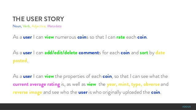 #OOUX As a user I can view numerous coins so that I can rate each coin. As a user I can add/edit/delete comments for each ...
