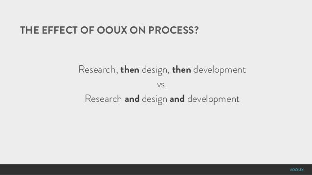 #OOUX THE EFFECT OF OOUX ON PROCESS? Research, then design, then development vs. Research and design and development