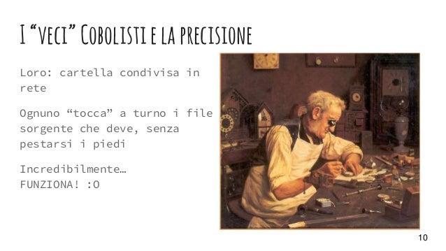 """I""""veci""""Cobolistielaprecisione Loro: cartella condivisa in rete Ognuno """"tocca"""" a turno i file sorgente che deve, senza pest..."""