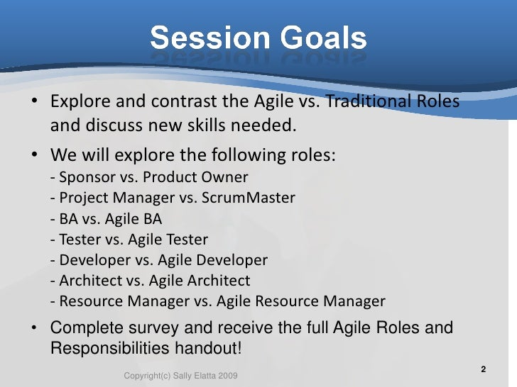 Agile vs traditional roles for Agile vs traditional project management