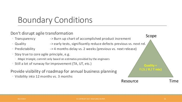 Boundary Conditions 11 Don't disrupt agile transformation ◦ Transparency -> Burn up chart of accomplished product incremen...