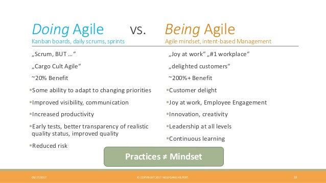 """Doing Agile vs. Being Agile Kanban boards, daily scrums, sprints Agile mindset, intent-based Management """"Scrum, BUT …"""" """"Ca..."""