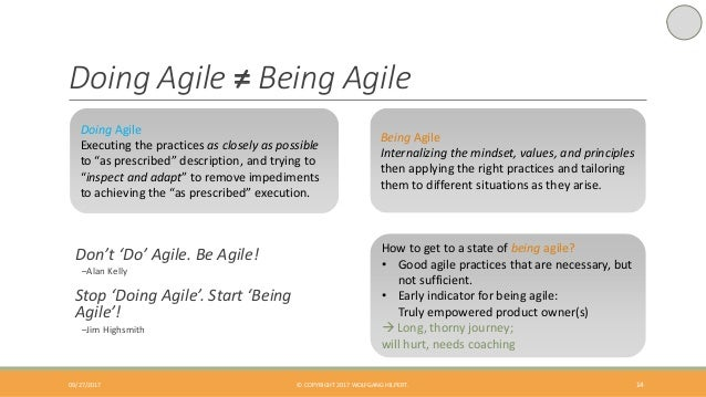 Doing Agile ≠ Being Agile 14 Don't 'Do' Agile. Be Agile! –Alan Kelly Stop 'Doing Agile'. Start 'Being Agile'! –Jim Highsmi...