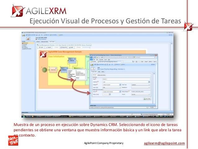 AgilePoint Company Proprietary agilexrm@agilepoint.com Ejecución Visual de Procesos y Gestión de Tareas Muestra de un proc...