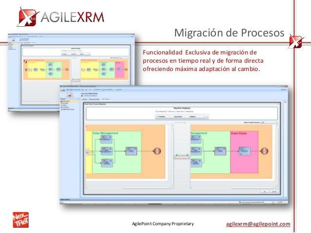 AgilePoint Company Proprietary agilexrm@agilepoint.com Migración de Procesos Funcionalidad Exclusiva de migración de proce...