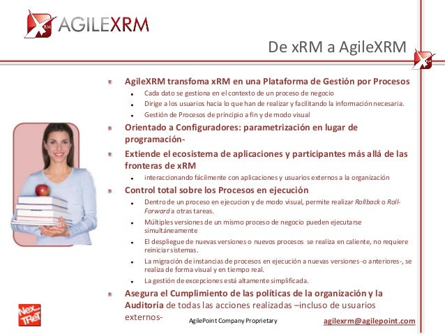 AgilePoint Company Proprietary agilexrm@agilepoint.com De xRM a AgileXRM AgileXRM transfoma xRM en una Plataforma de Gesti...
