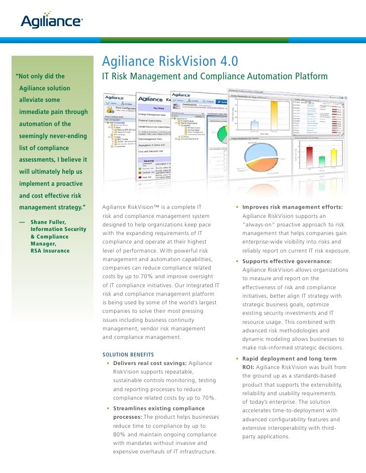 """Agiliance RiskVision 4.0 """"Not only did the            IT Risk Management and Compliance Automation Platform  Agiliance sol..."""