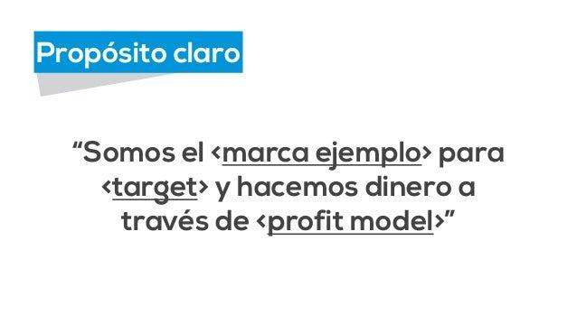 """Propósito claro  """"Somos el <marca ejemplo> para  <target> y hacemos dinero a  través de <profit model>"""""""