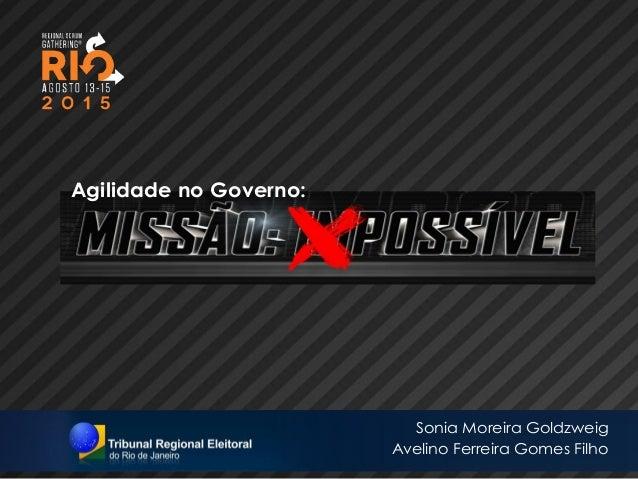 Agilidade no Governo: 1 Sonia Moreira Goldzweig Avelino Ferreira Gomes Filho