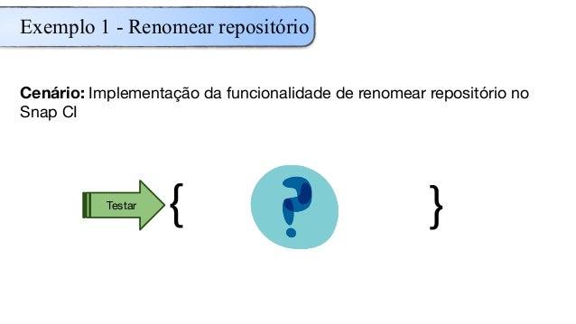 Cenário: Implementação da funcionalidade de renomear repositório no Snap CI { }Testar Exemplo 1 - Renomear repositório