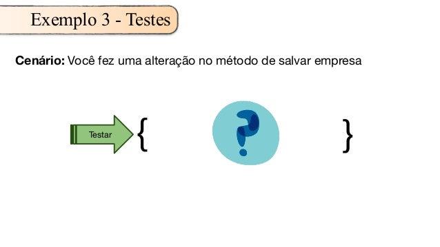 Cenário: Você fez uma alteração no método de salvar empresa { }Testar Exemplo 3 - Testes