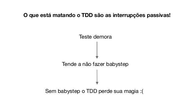 Teste demora Tende a não fazer babystep Sem babystep o TDD perde sua magia :( O que está matando o TDD são as interrupções...