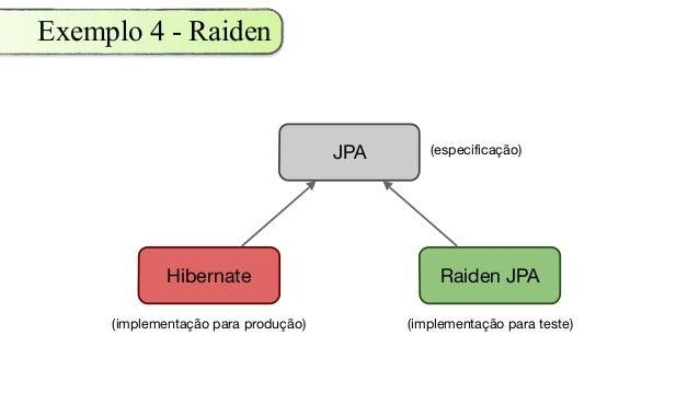 Exemplo 4 - Raiden Hibernate JPA Raiden JPA (especificação) (implementação para produção) (implementação para teste)