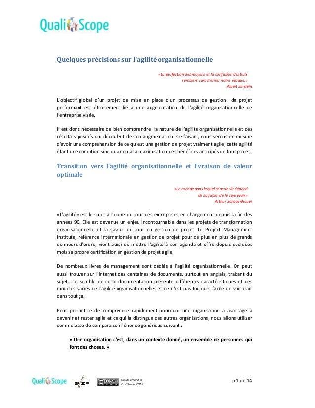 p 1 de 14Claude Emond et QualiScope 2012GP 2C MCGP 2C MC Quelques précisions sur l'agilité organisationnelle «La perfectio...