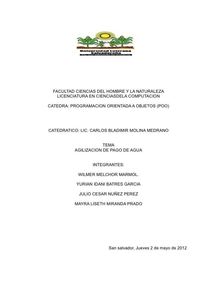 FACULTAD CIENCIAS DEL HOMBRE Y LA NATURALEZA   LICENCIATURA EN CIENCIASDELA COMPUTACIONCATEDRA: PROGRAMACION ORIENTADA A O...