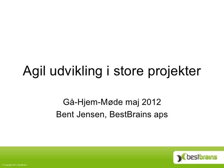 Agil udvikling i store projekter                                 Gå-Hjem-Møde maj 2012                                Bent...
