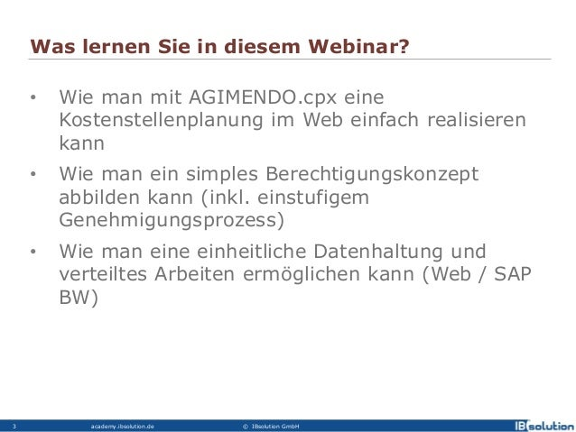 Agimendo.costplan - Vorstellung des Business Packages Kostenstellenplanung Slide 2
