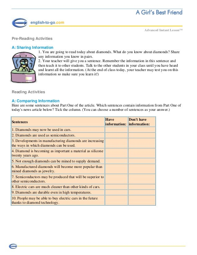 A Girl's Best Friend english-to-go.com Advanced Instant Lesson™ Pre-Reading Activities A: Sharing Information 1. You are g...