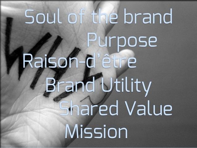 Brand UtilityShared ValuePurposeRaison-d'êtreSoul of the brandMission