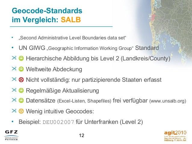 """12 Geocode-Standards im Vergleich: SALB • """"Second Administrative Level Boundaries data set"""" • UN GIWG """"Geographic Informat..."""