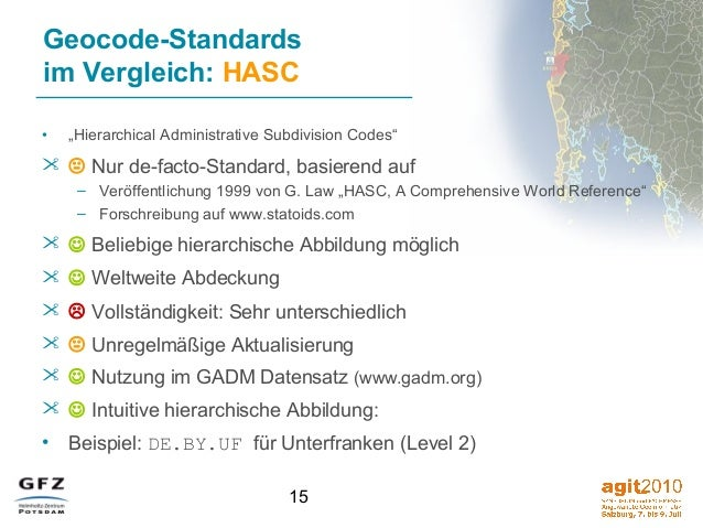 "15 Geocode-Standards im Vergleich: HASC • ""Hierarchical Administrative Subdivision Codes""   Nur de-facto-Standard, basie..."