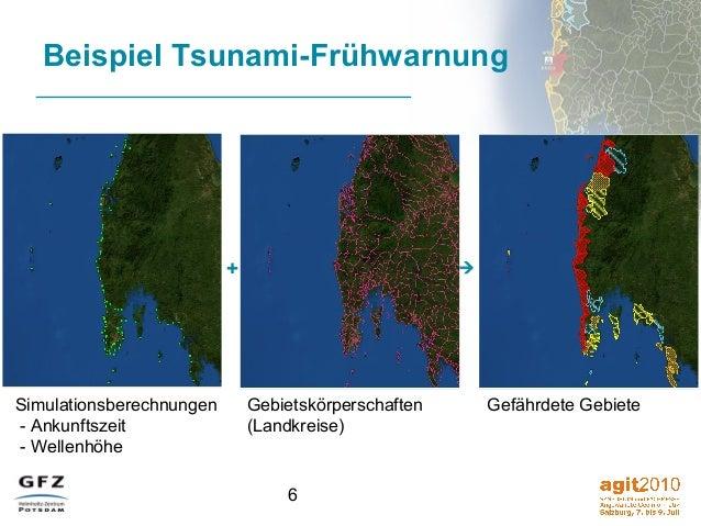 6 Beispiel Tsunami-Frühwarnung +  Simulationsberechnungen - Ankunftszeit - Wellenhöhe Gebietskörperschaften (Landkreise) ...