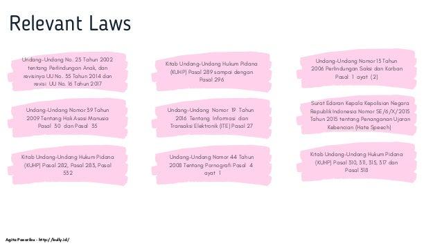 Relevant Laws Undang-Undang No. 23 Tahun 2002 tentang Perlindungan Anak, dan revisinya UU No. 35 Tahun 2014 dan revisi UU ...