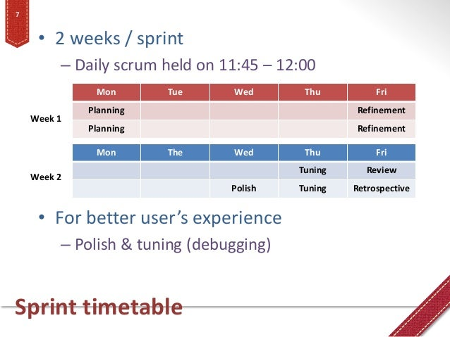 Sprint timetable • 2 weeks / sprint – Daily scrum held on 11:45 – 12:00 • For better user's experience – Polish & tuning (...