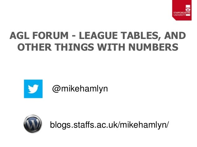 AGL FORUM - LEAGUE TABLES, AND OTHER THINGS WITH NUMBERS @mikehamlyn blogs.staffs.ac.uk/mikehamlyn/