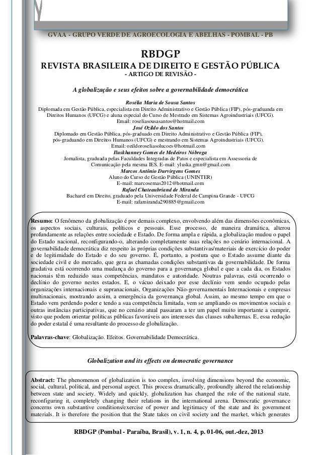 Rosélia Maria de Sousa Santos et al.  1  GVAA - GRUPO VERDE DE AGROECOLOGIA E ABELHAS - POMBAL - PB  RBDGP REVISTA BRASILE...