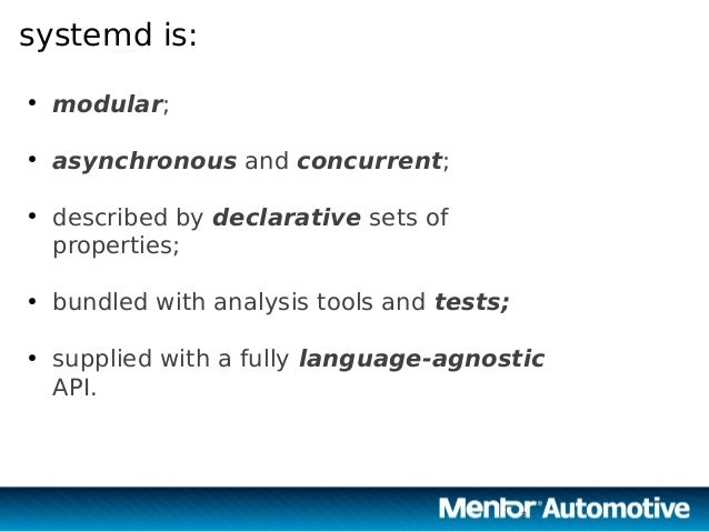 Automotive Grade Linux and systemd Slide 3