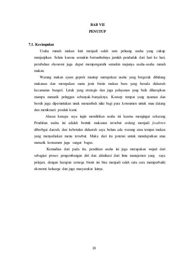 Contoh Kesimpulan Dan Saran Proposal Usaha Berbagi Contoh Proposal