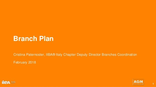 Branch Plan 1 Cristina Paternoster, IIBA® Italy Chapter Deputy Director Branches Coordination February 2018