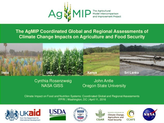 India USA Kenya Sri Lanka Cynthia Rosenzweig John Antle NASA GISS Oregon State University Climate Impact on Food and Nutri...