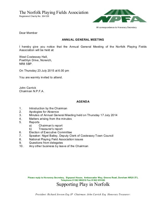 Agm letter and agenda 23 july 2015 600 pm