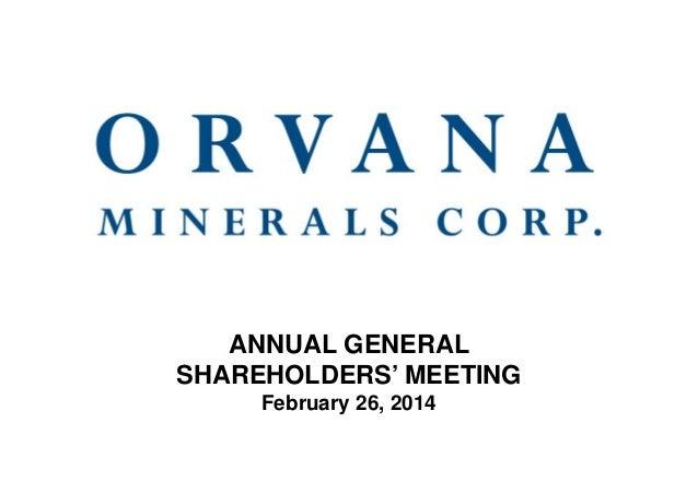 ANNUAL GENERAL SHAREHOLDERS' MEETING February 26, 2014