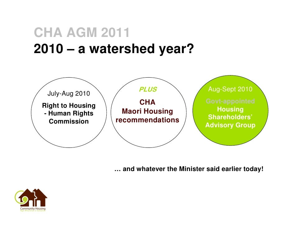 CHA AGM 20112010 – a watershed year?                           PLUS                  Aug-Sept 2010  July-Aug 2010         ...