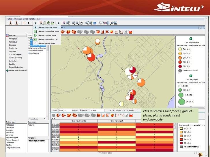 Intelli3 inc<br />15<br />Forage sur un secteurdonné pour visualiser les conduitesindividuelles par cote de dépôt<br />
