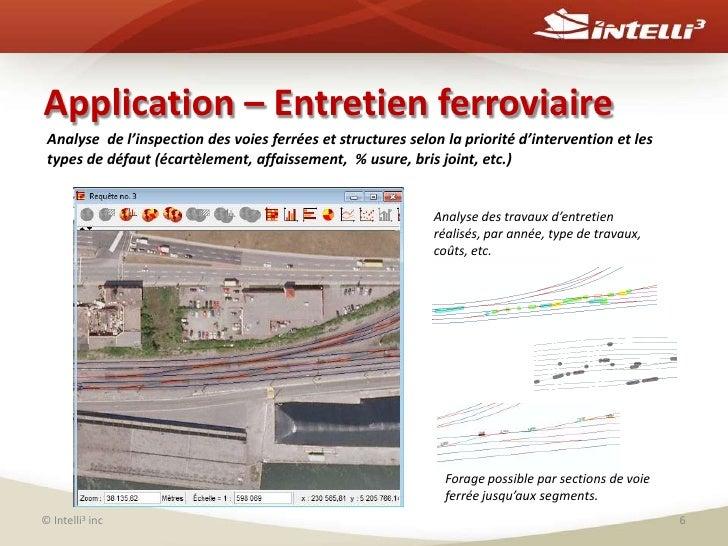 Application – Entretien ferroviaire<br />© Intelli3inc<br />6<br />Analyse  de l'inspection des voies ferrées et structure...