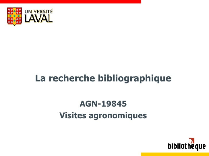 La recherche bibliographique  AGN-19845  Visites agronomiques